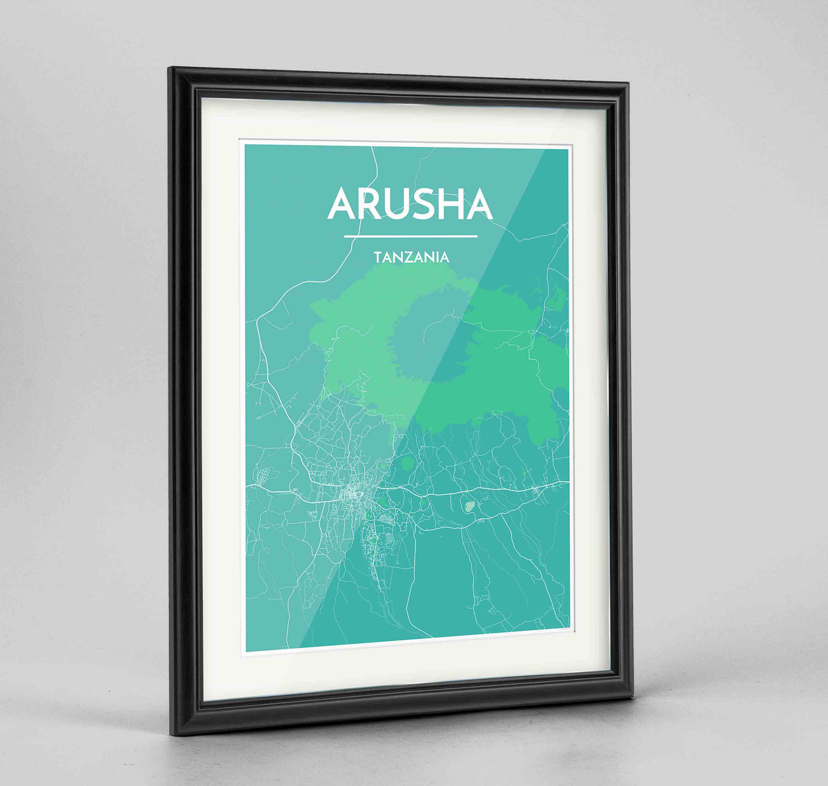 "Framed Arusha Map Art Print 24x36"" Traditional Black frame Point Two Design Group"