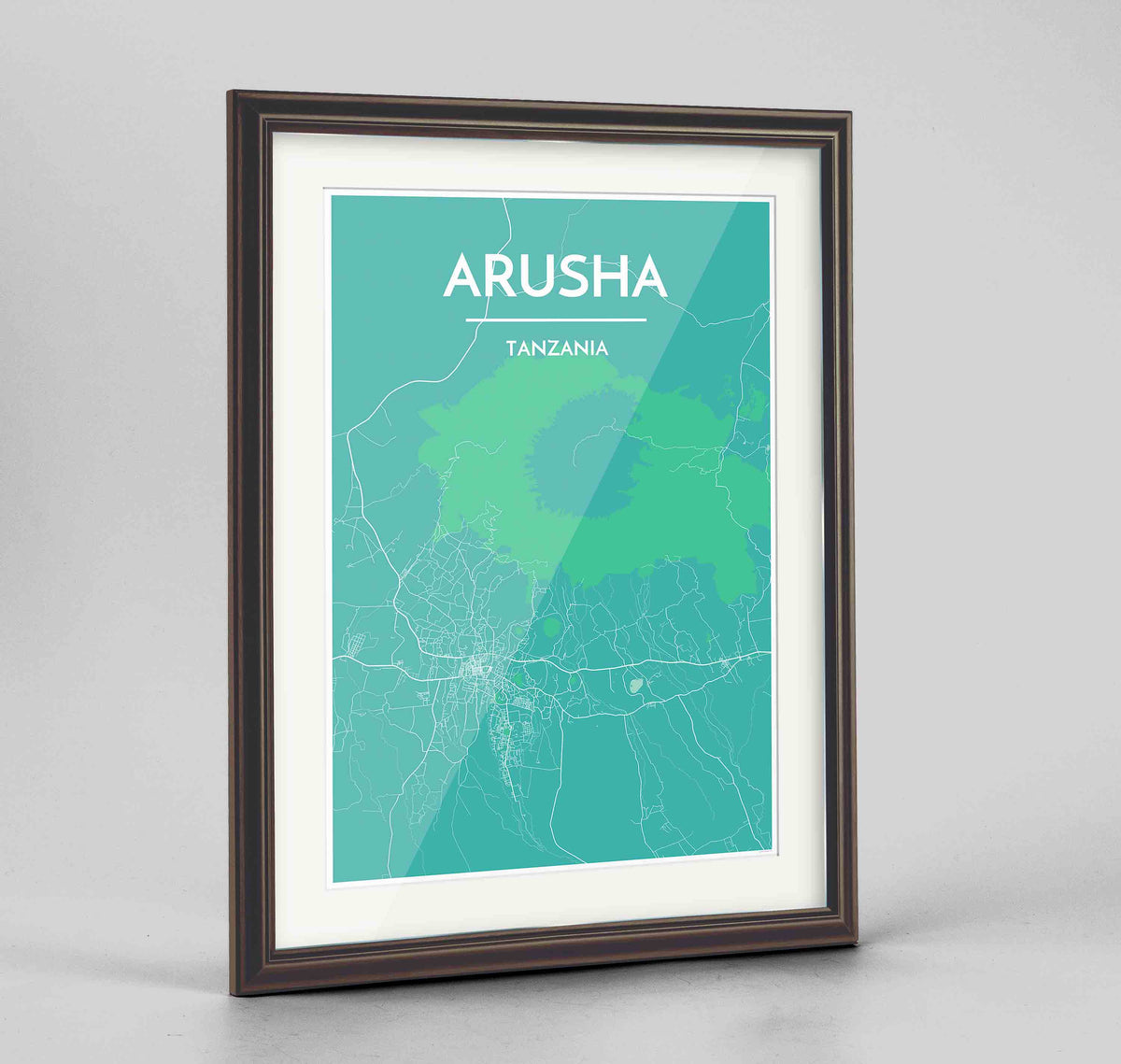 "Framed Arusha Map Art Print 24x36"" Traditional Walnut frame Point Two Design Group"