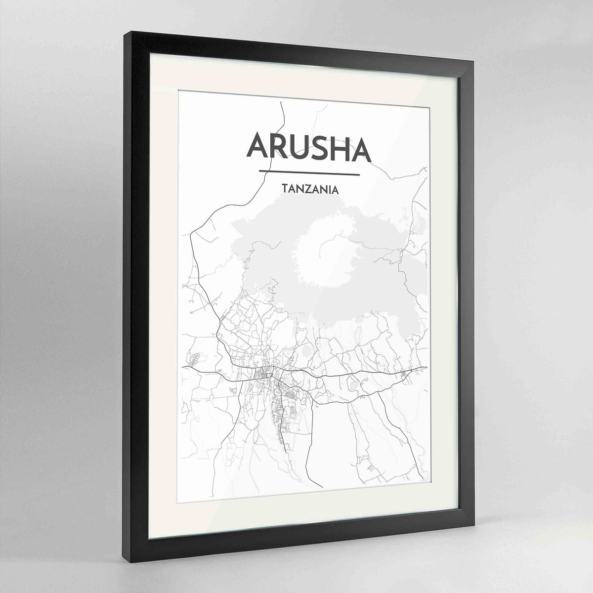 "Framed Arusha Map Art Print 24x36"" Contemporary Black frame Point Two Design Group"