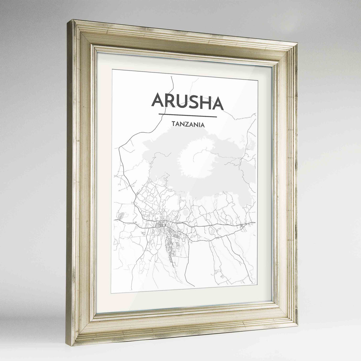 "Framed Arusha Map Art Print 24x36"" Champagne frame Point Two Design Group"