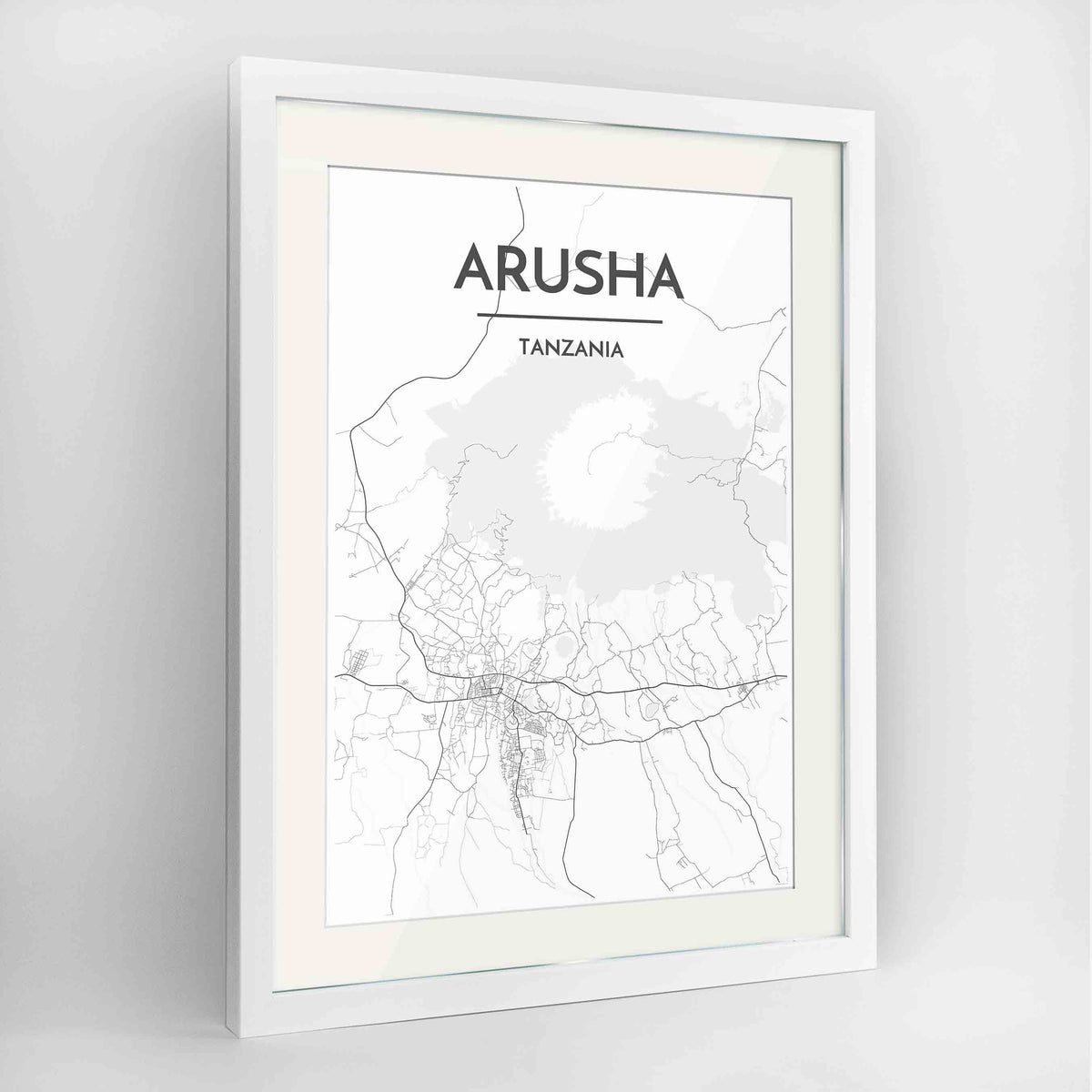 "Framed Arusha Map Art Print 24x36"" Contemporary White frame Point Two Design Group"