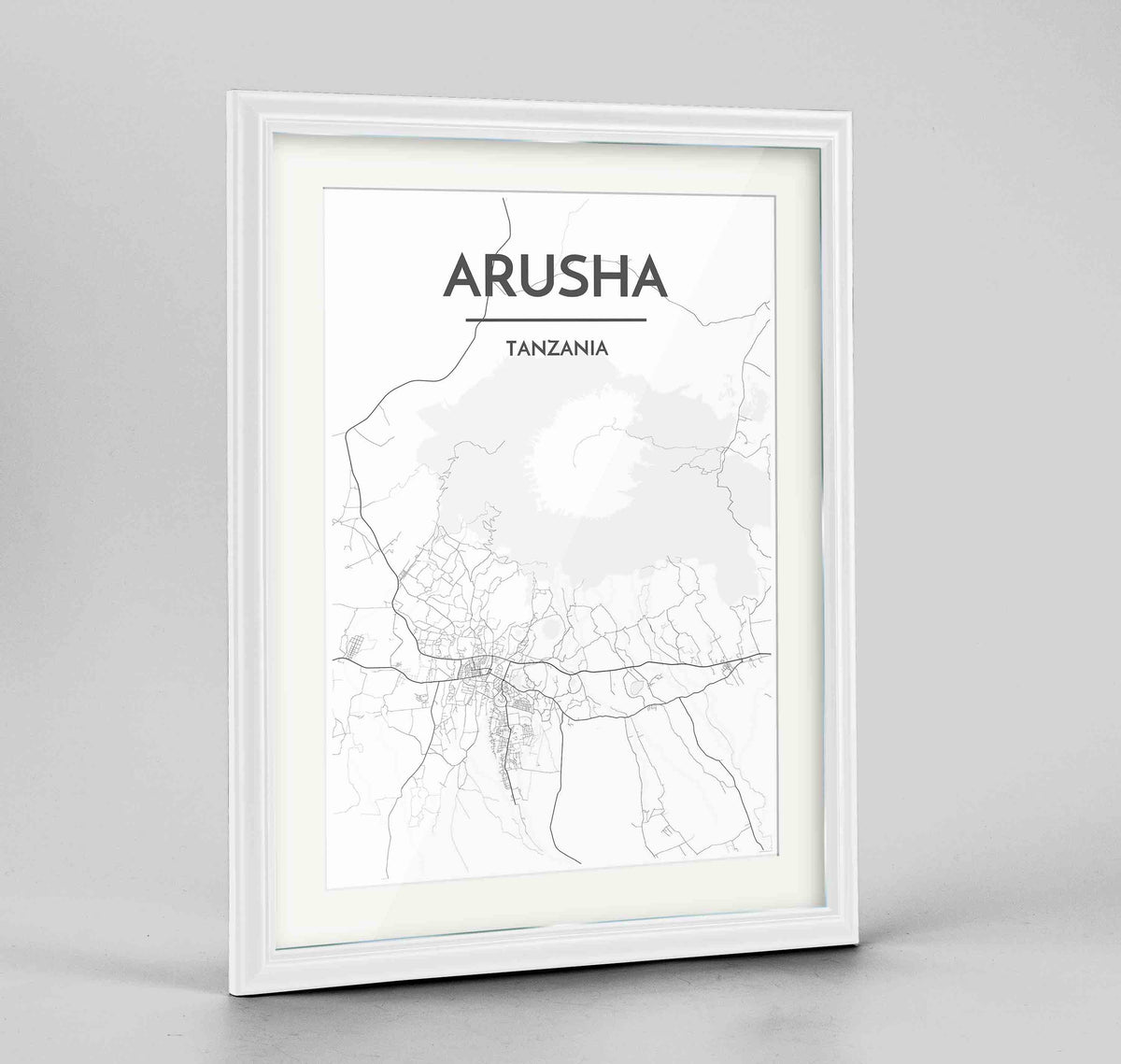 "Framed Arusha Map Art Print 24x36"" Traditional White frame Point Two Design Group"