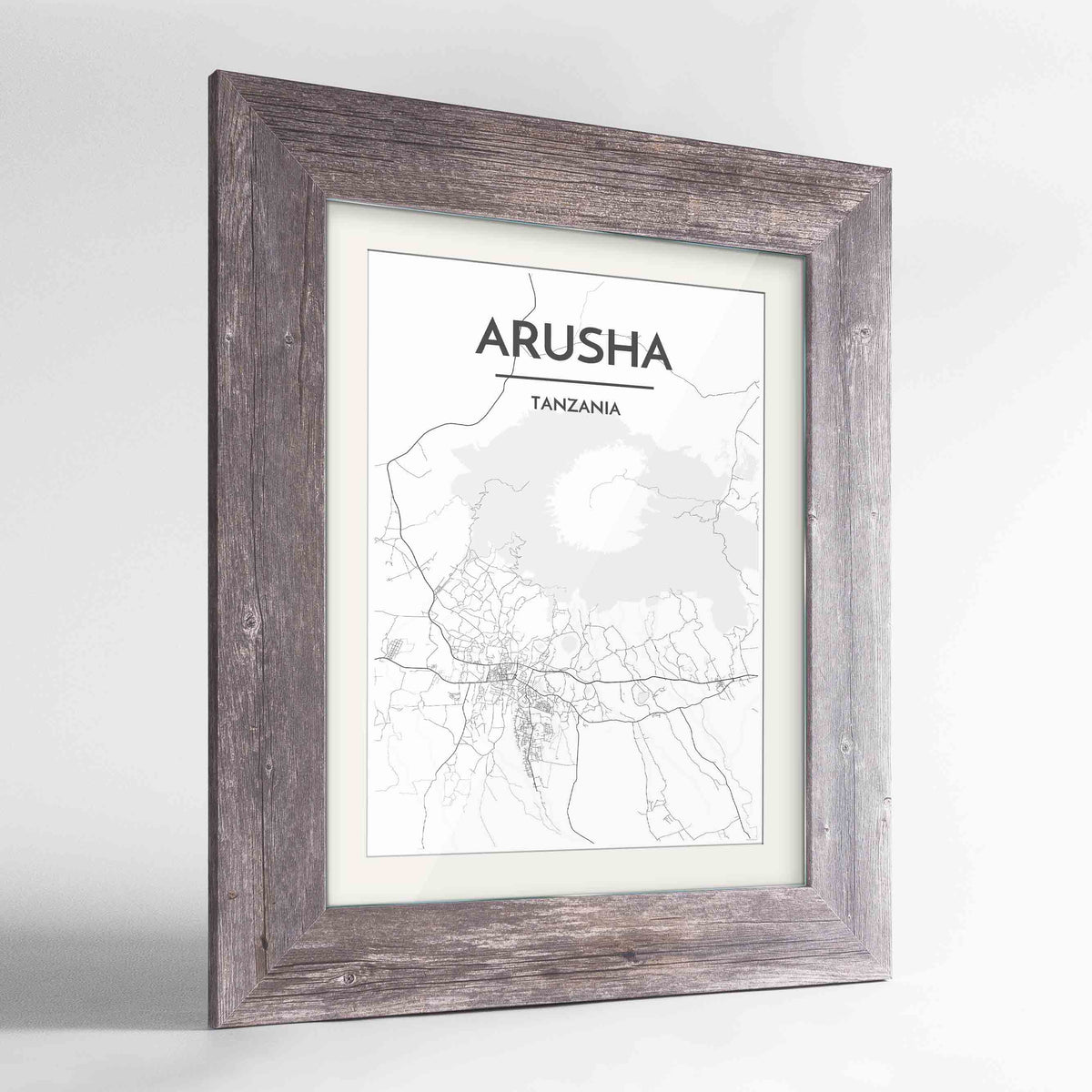 "Framed Arusha Map Art Print 24x36"" Western Grey frame Point Two Design Group"