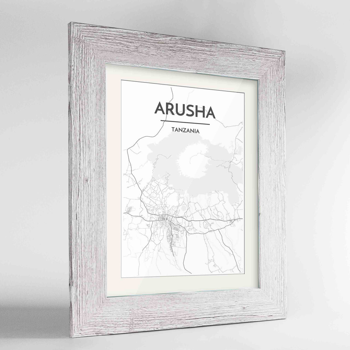 "Framed Arusha Map Art Print 24x36"" Western White frame Point Two Design Group"