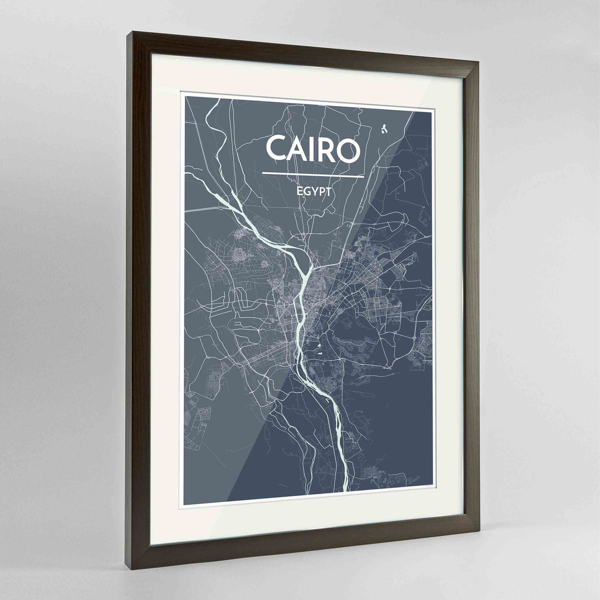 "Framed Cairo Map Art Print 24x36"" Contemporary Walnut frame Point Two Design Group"
