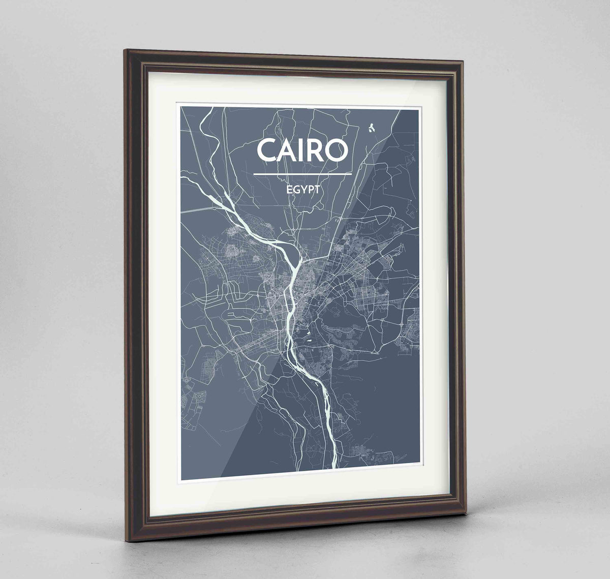 "Framed Cairo Map Art Print 24x36"" Traditional Walnut frame Point Two Design Group"