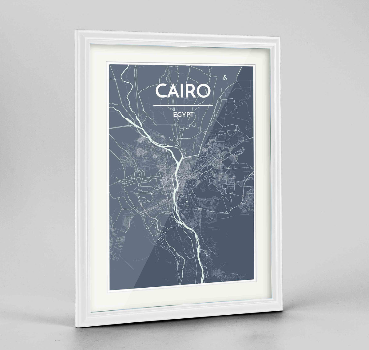 "Framed Cairo Map Art Print 24x36"" Traditional White frame Point Two Design Group"