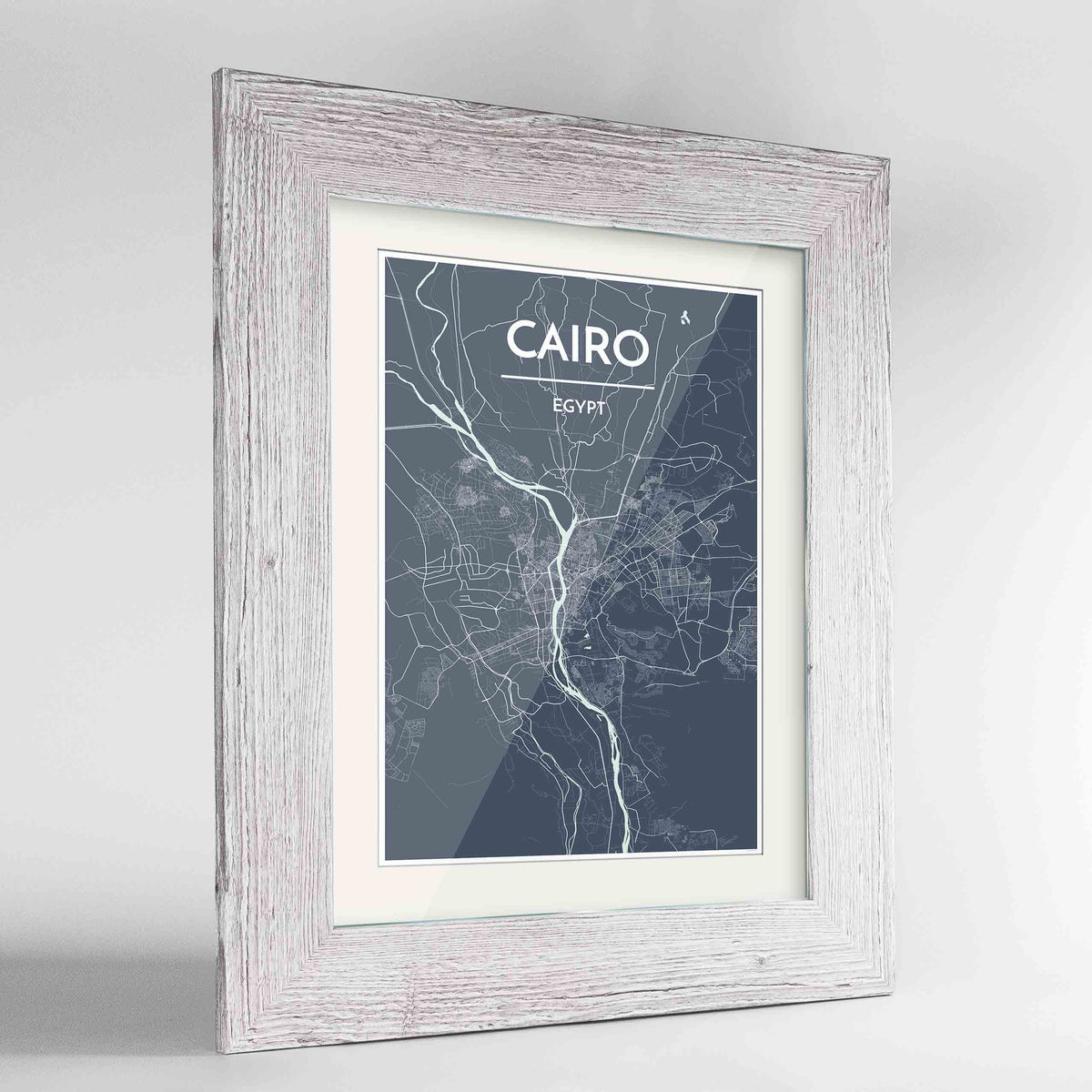 "Framed Cairo Map Art Print 24x36"" Western White frame Point Two Design Group"