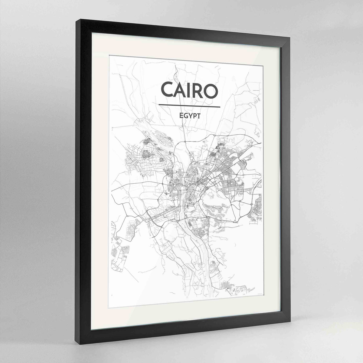 "Framed Cairo Map Art Print 24x36"" Contemporary Black frame Point Two Design Group"