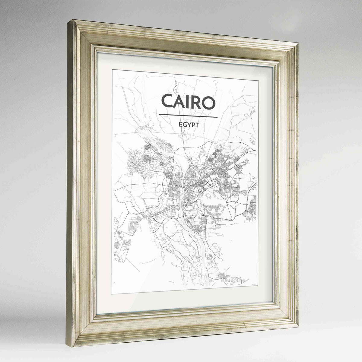 "Framed Cairo Map Art Print 24x36"" Champagne frame Point Two Design Group"