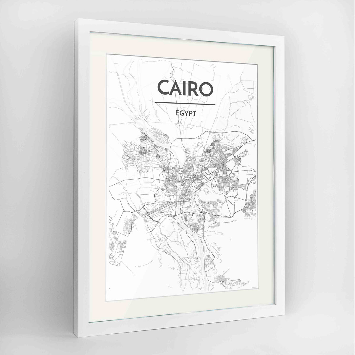 "Framed Cairo Map Art Print 24x36"" Contemporary White frame Point Two Design Group"