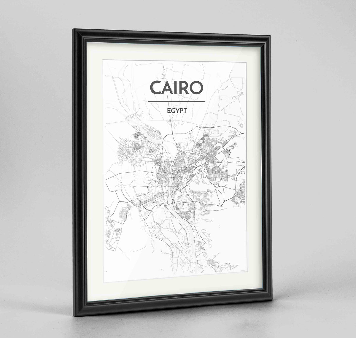 "Framed Cairo Map Art Print 24x36"" Traditional Black frame Point Two Design Group"