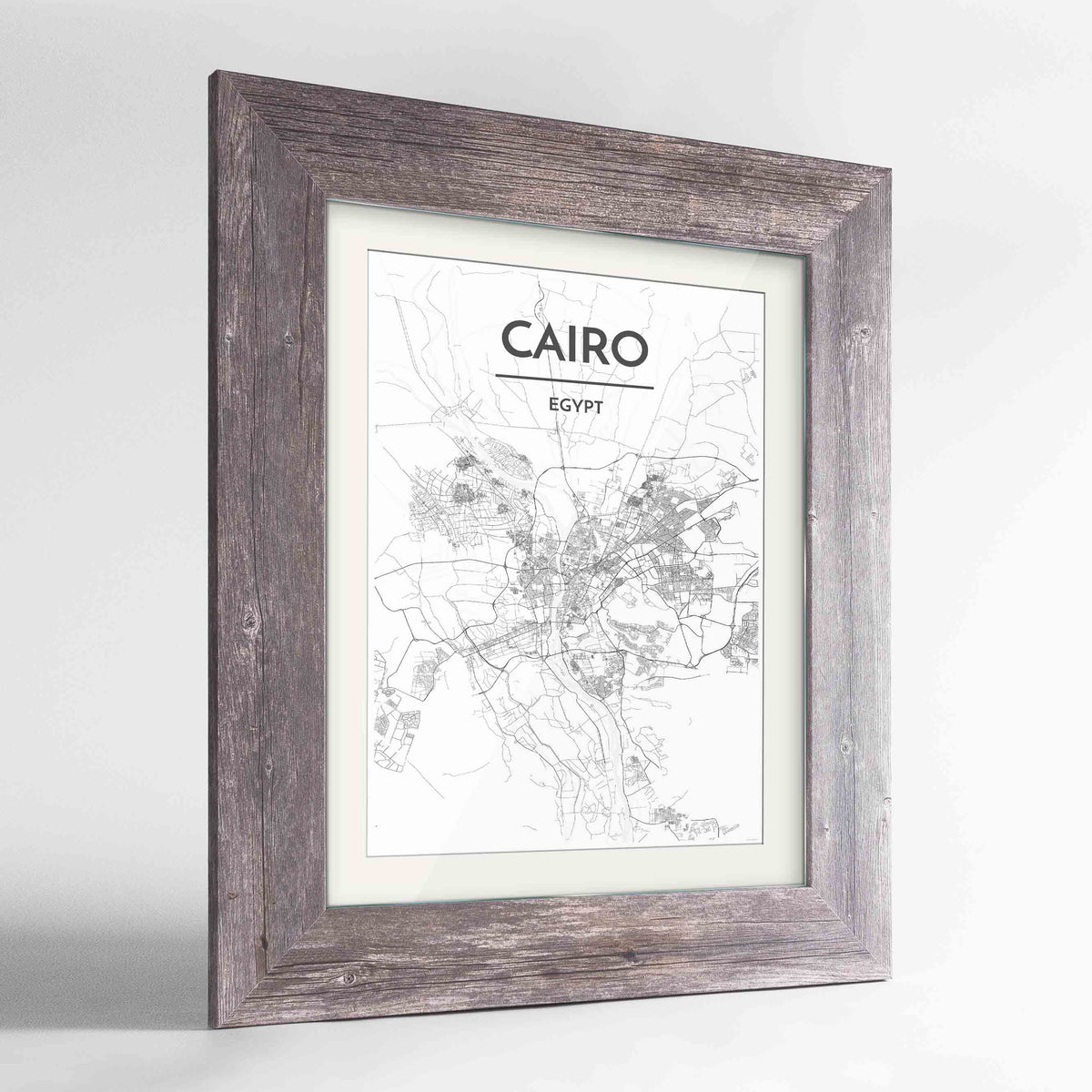 "Framed Cairo Map Art Print 24x36"" Western Grey frame Point Two Design Group"