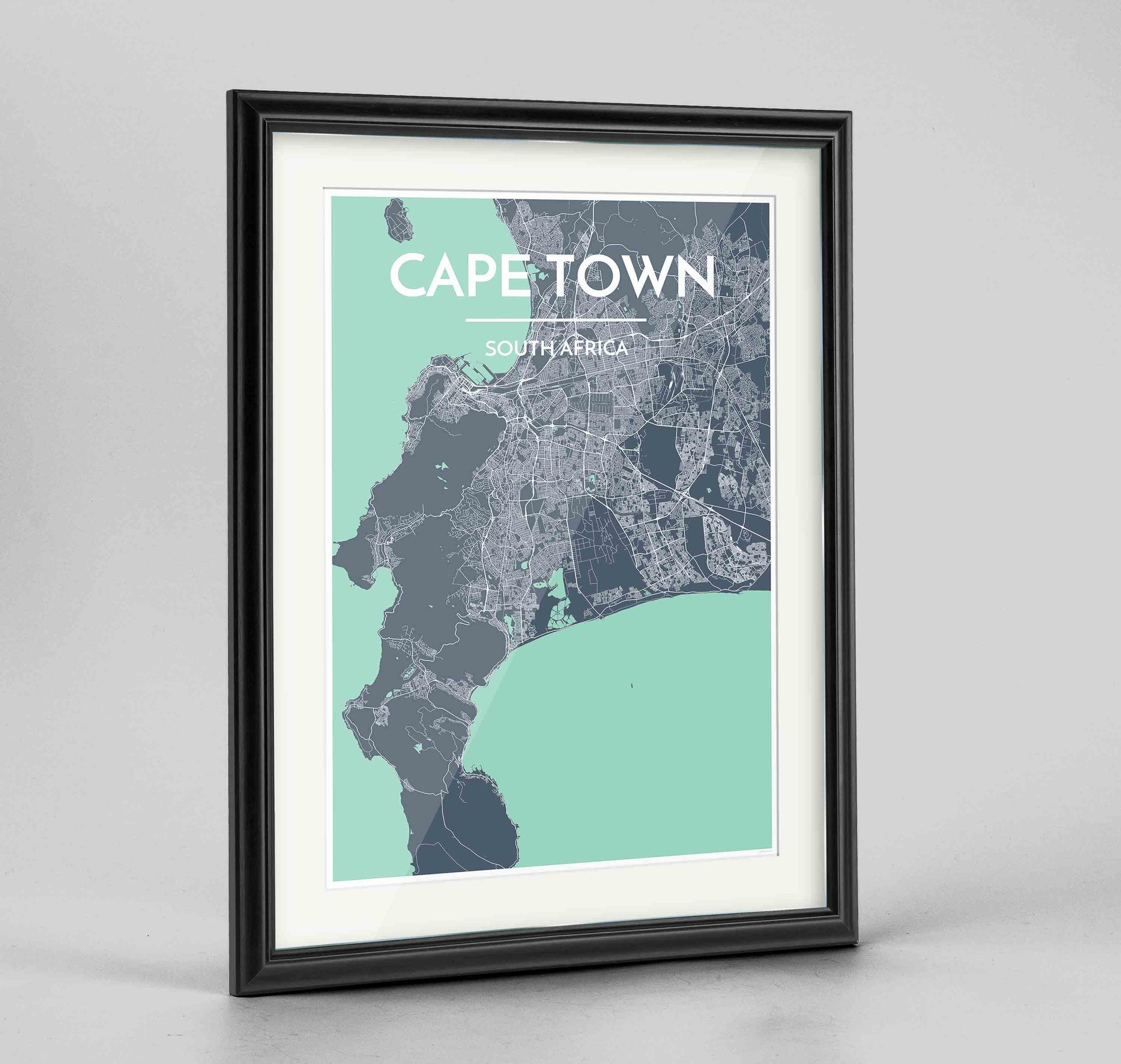 "Framed Cape Town Map Art Print 24x36"" Traditional Black frame Point Two Design Group"