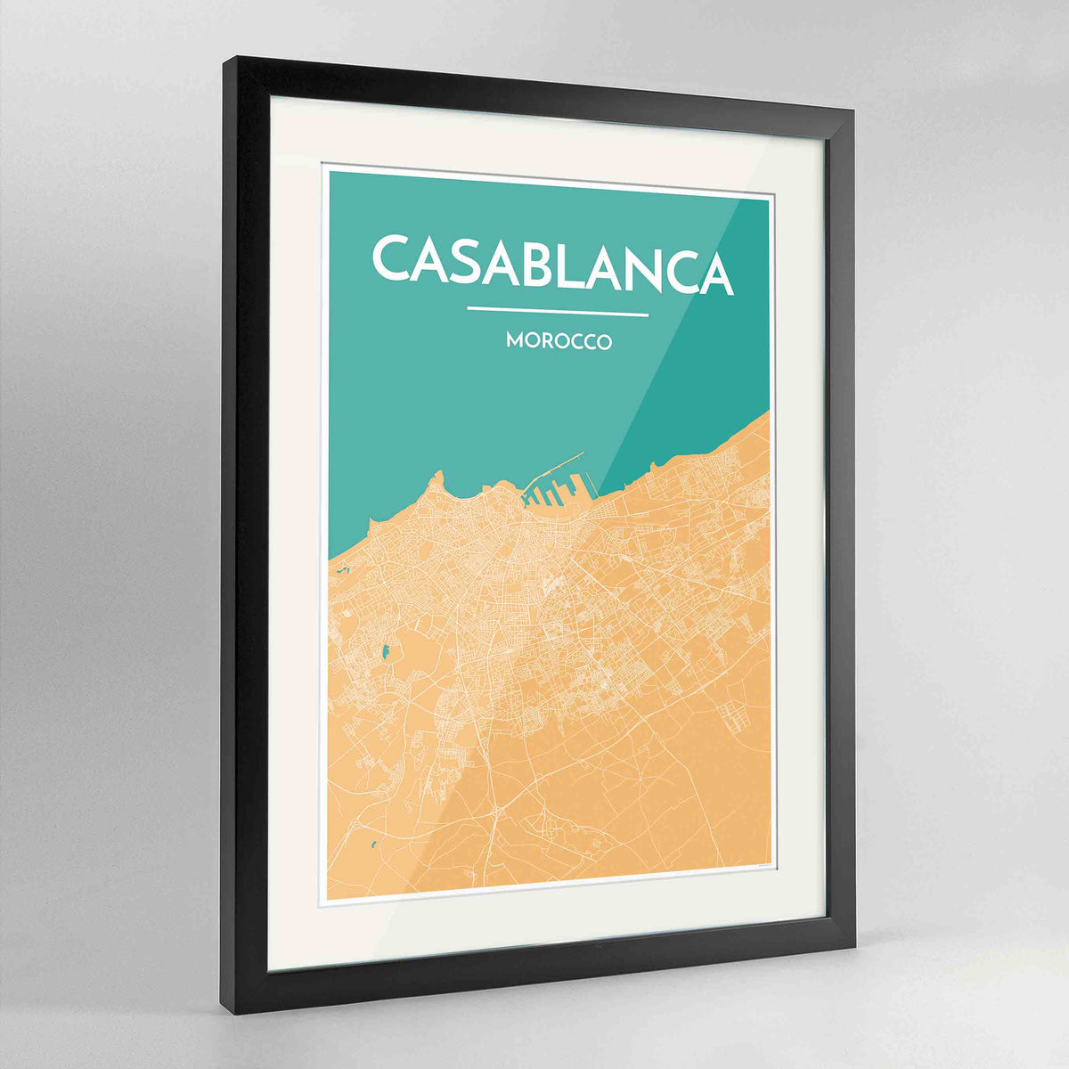 "Framed Casablanca Map Art Print 24x36"" Contemporary Black frame Point Two Design Group"