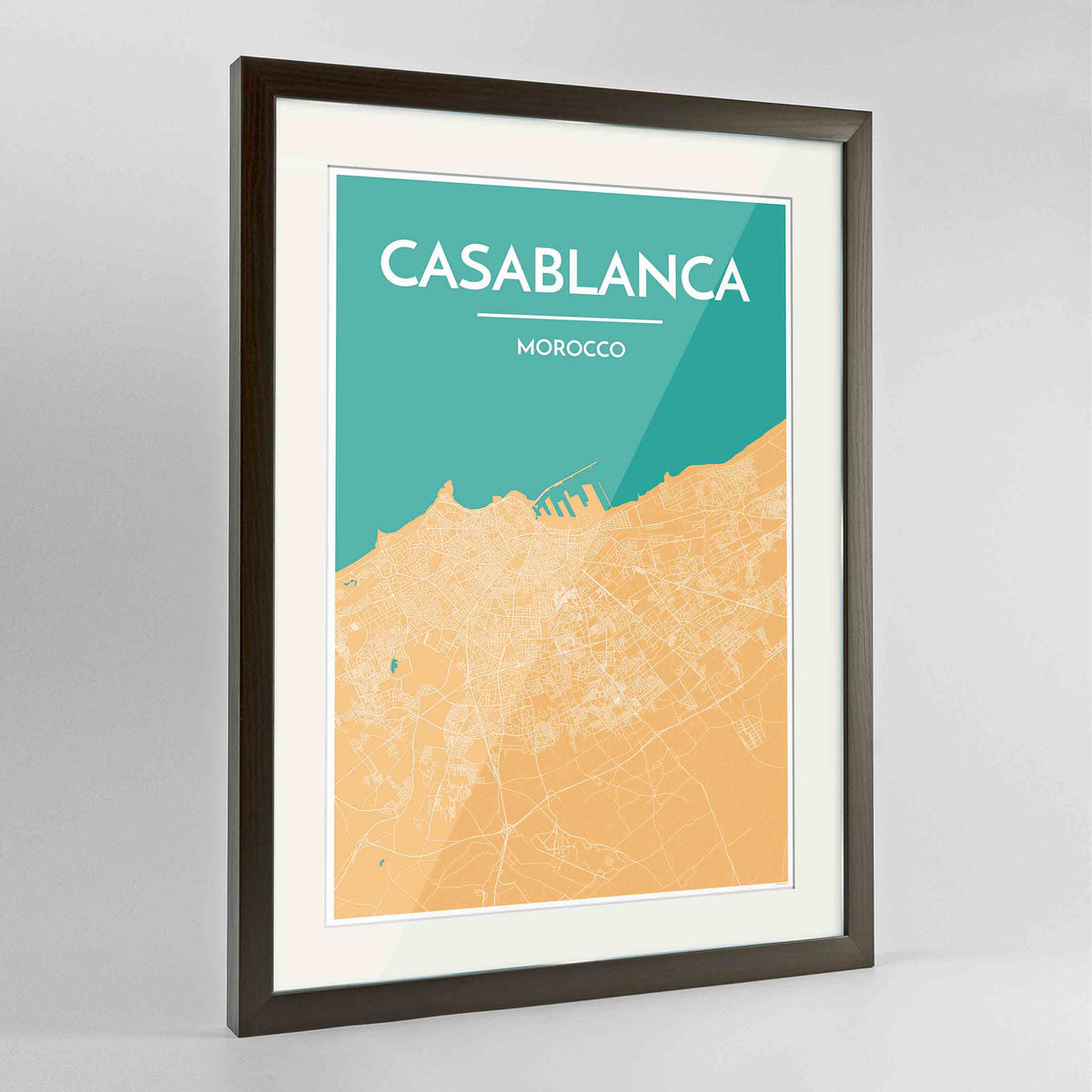 "Framed Casablanca Map Art Print 24x36"" Contemporary Walnut frame Point Two Design Group"