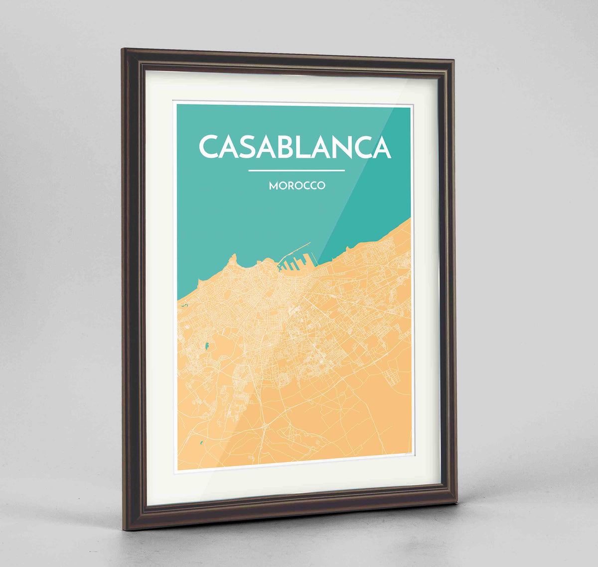 "Framed Casablanca Map Art Print 24x36"" Traditional Walnut frame Point Two Design Group"