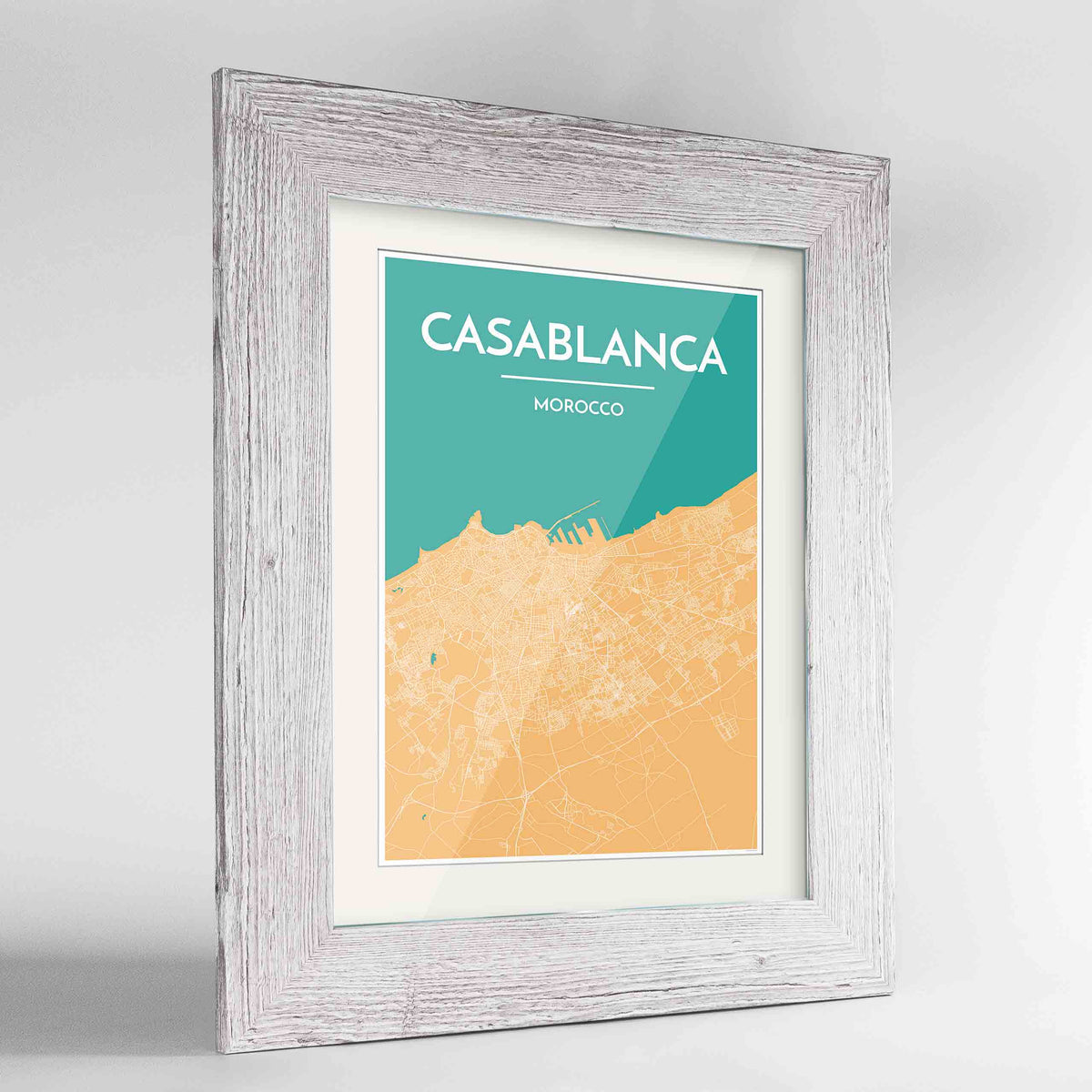 "Framed Casablanca Map Art Print 24x36"" Western White frame Point Two Design Group"