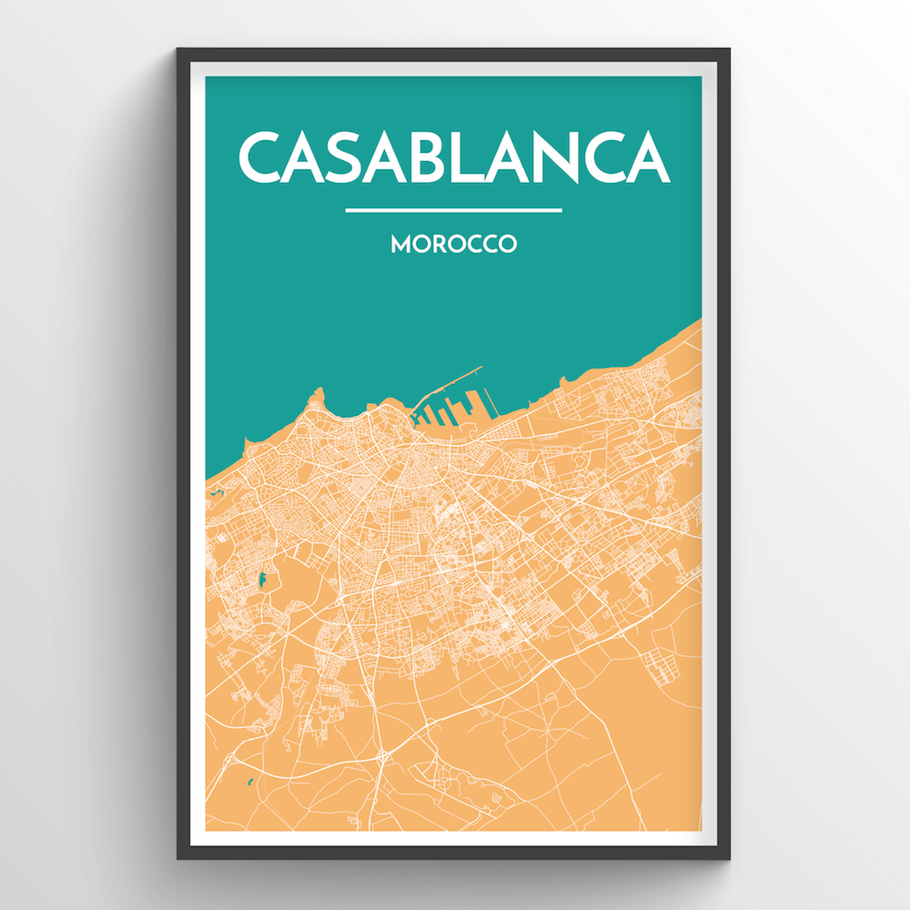 Casablanca Map Art Print - Point Two Design