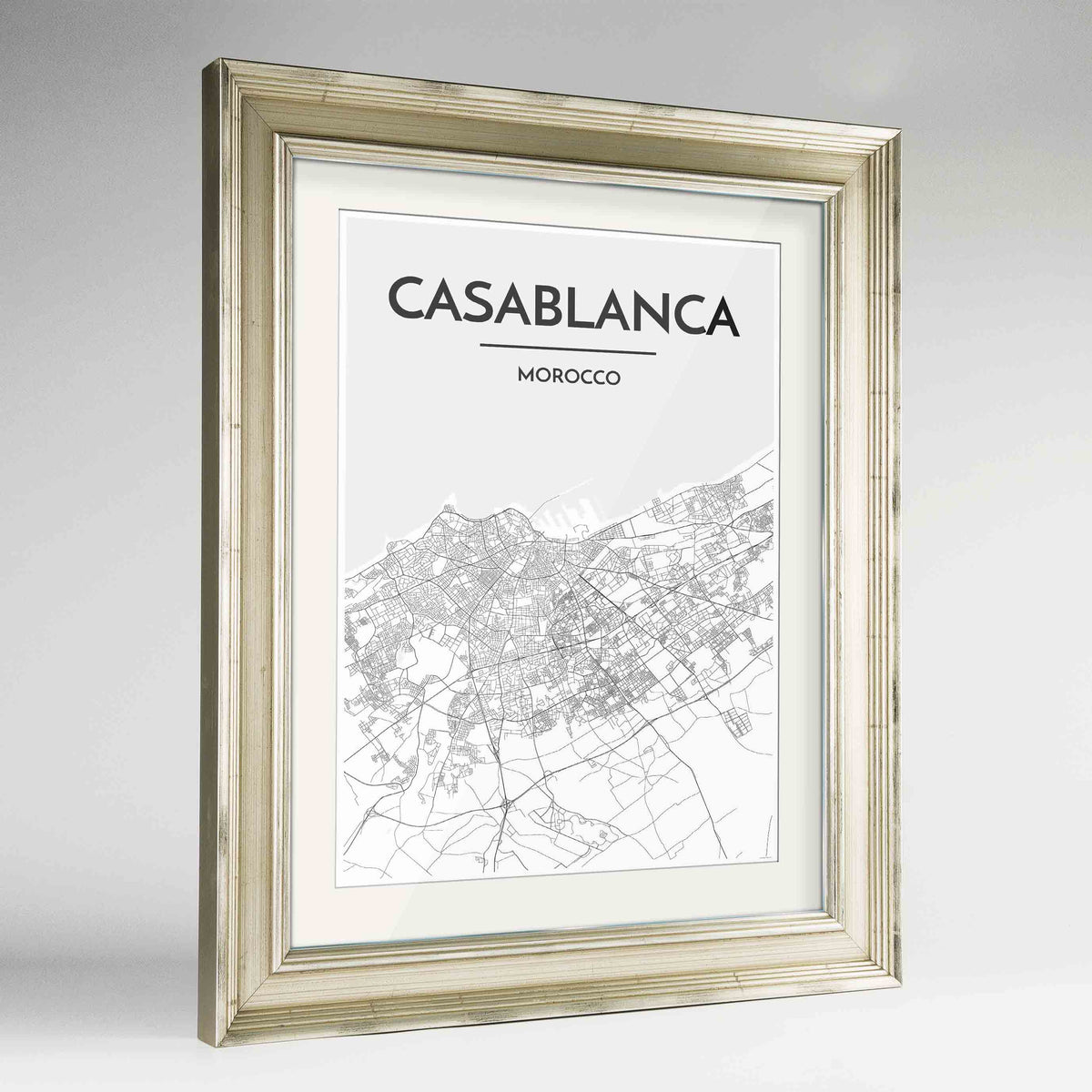 "Framed Casablanca Map Art Print 24x36"" Champagne frame Point Two Design Group"