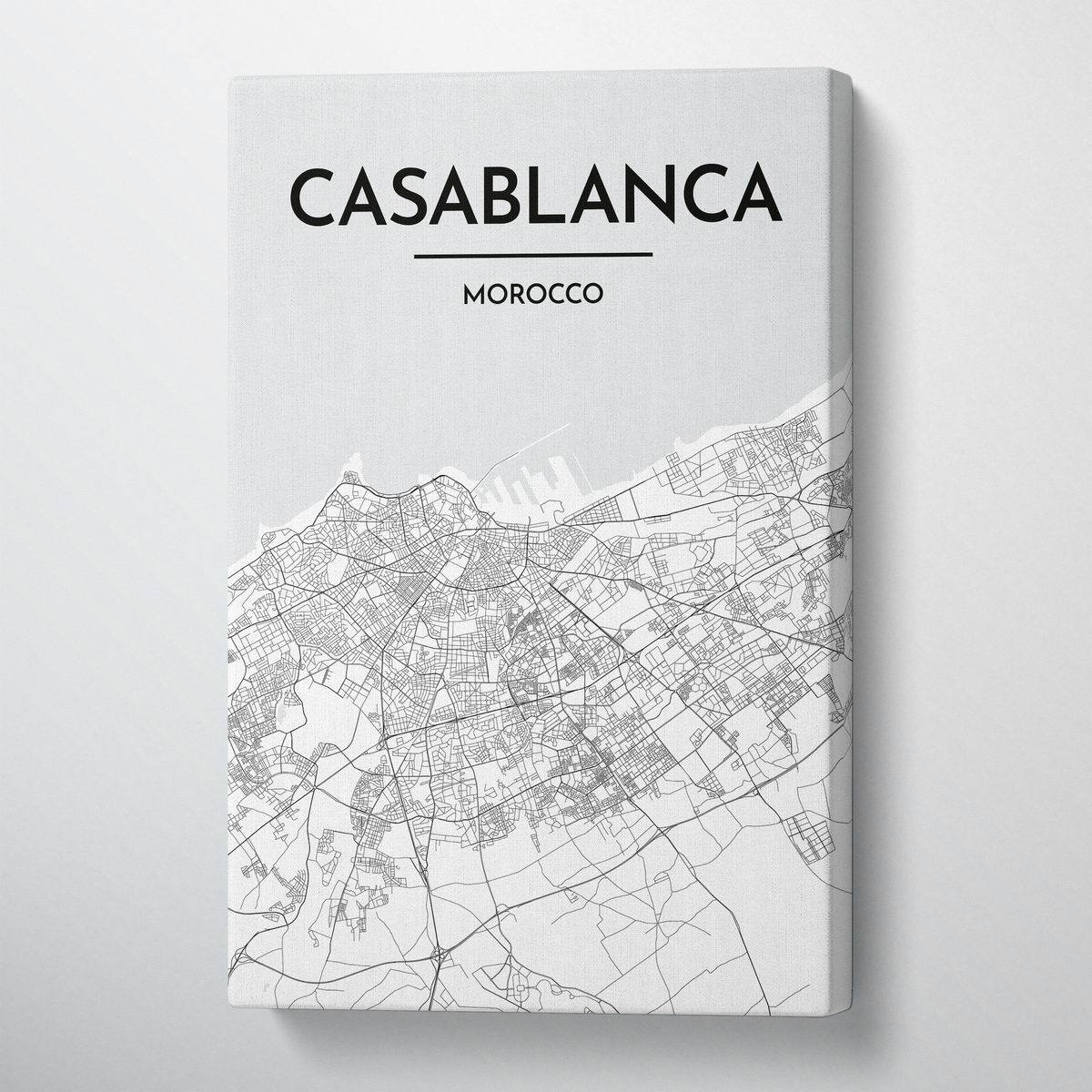 Casablanca Map Canvas Wrap - Point Two Design