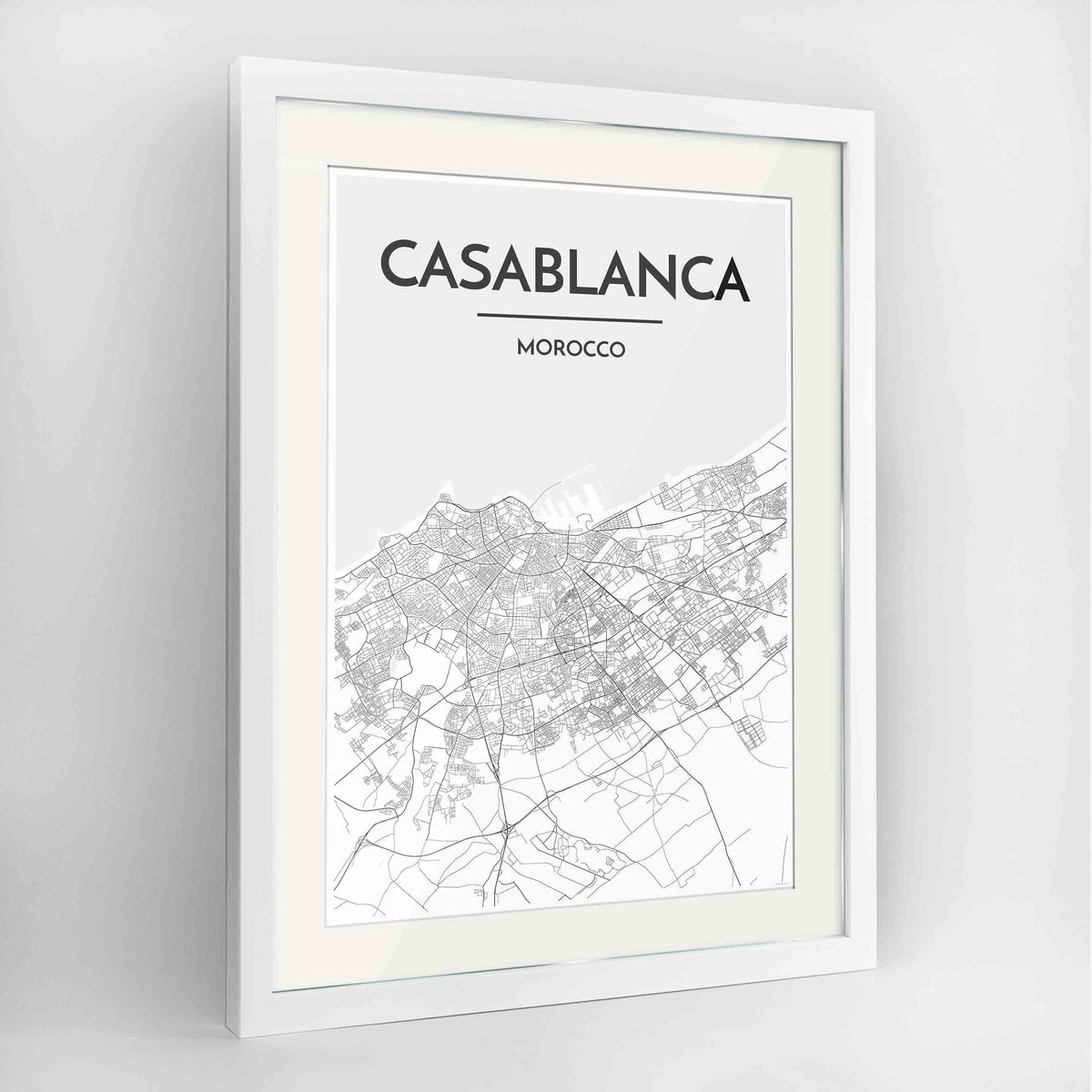 "Framed Casablanca Map Art Print 24x36"" Contemporary White frame Point Two Design Group"
