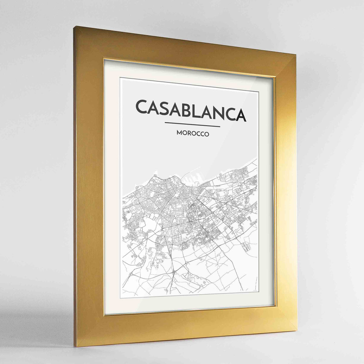 "Framed Casablanca Map Art Print 24x36"" Gold frame Point Two Design Group"