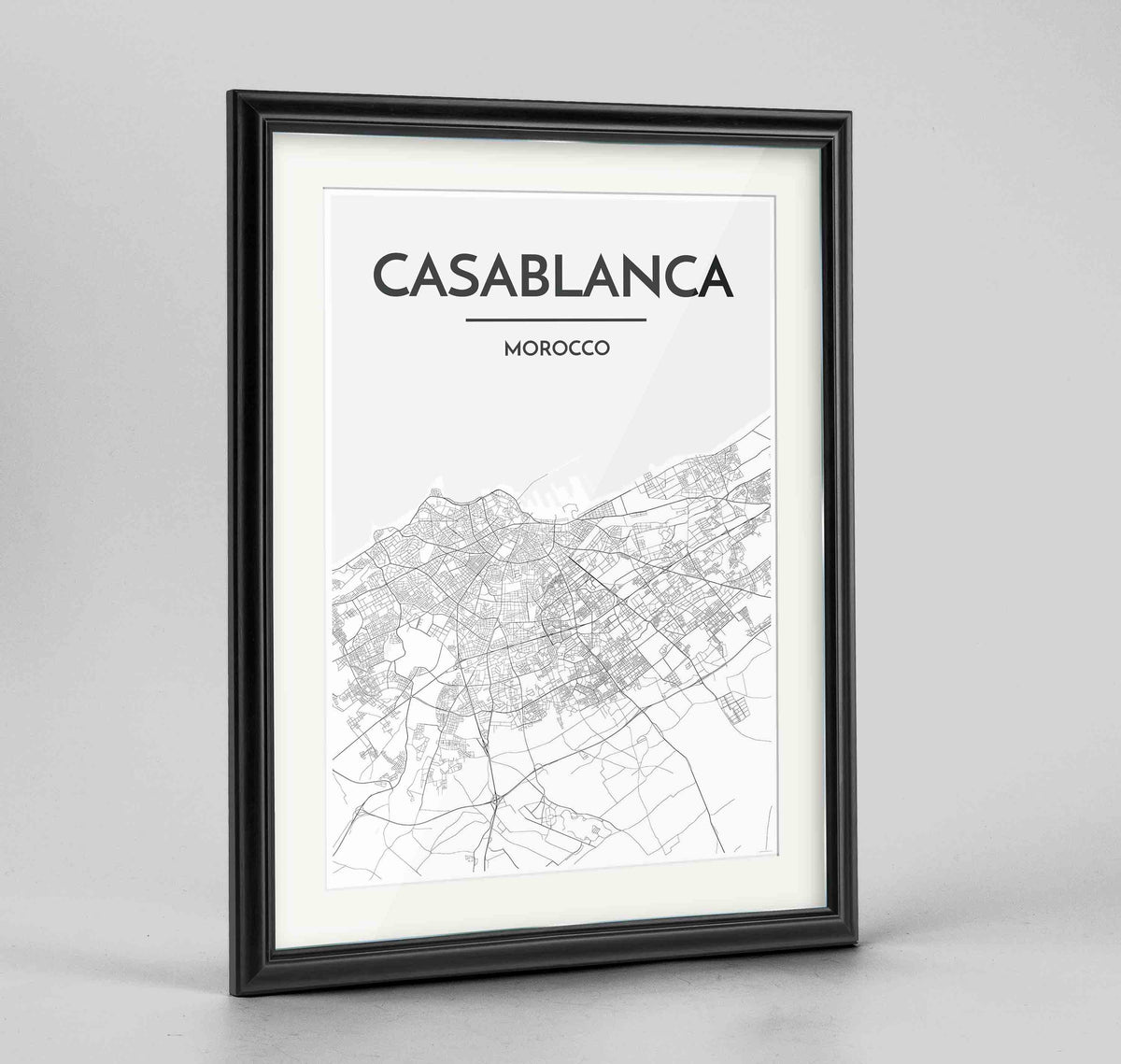 "Framed Casablanca Map Art Print 24x36"" Traditional Black frame Point Two Design Group"
