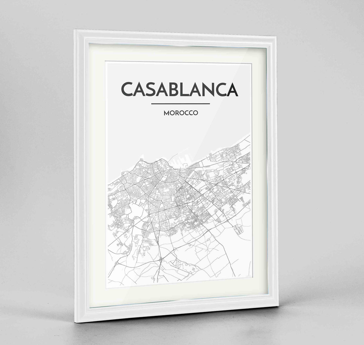 "Framed Casablanca Map Art Print 24x36"" Traditional White frame Point Two Design Group"