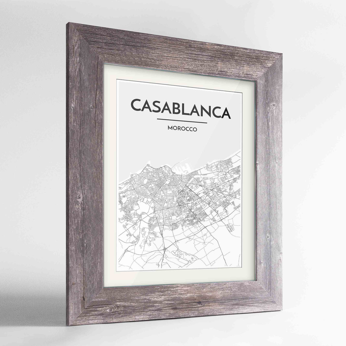"Framed Casablanca Map Art Print 24x36"" Western Grey frame Point Two Design Group"