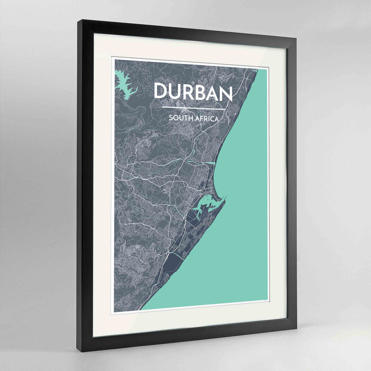 "Framed Durban Map Art Print 24x36"" Contemporary Black frame Point Two Design Group"