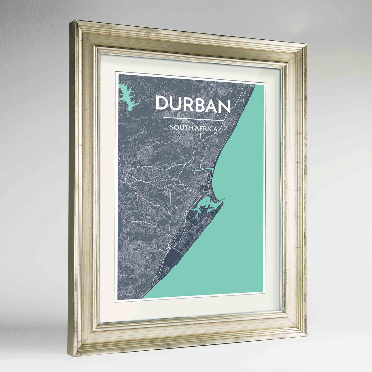 "Framed Durban Map Art Print 24x36"" Champagne frame Point Two Design Group"