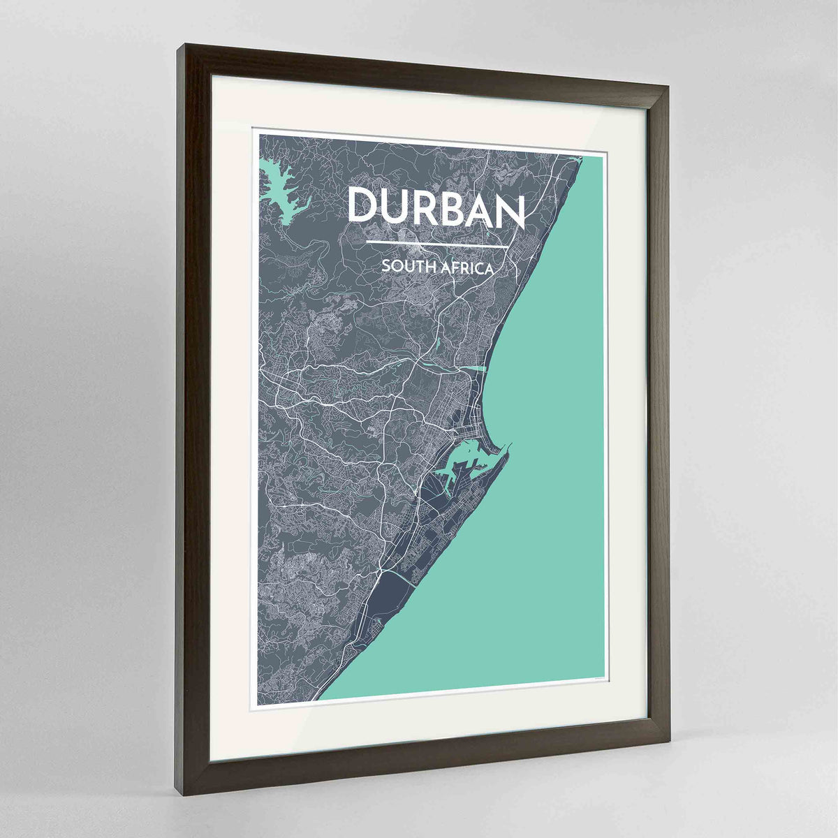 "Framed Durban Map Art Print 24x36"" Contemporary Walnut frame Point Two Design Group"
