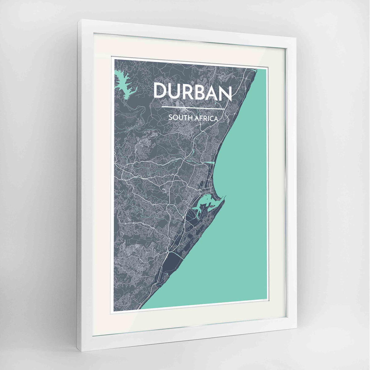 "Framed Durban Map Art Print 24x36"" Contemporary White frame Point Two Design Group"