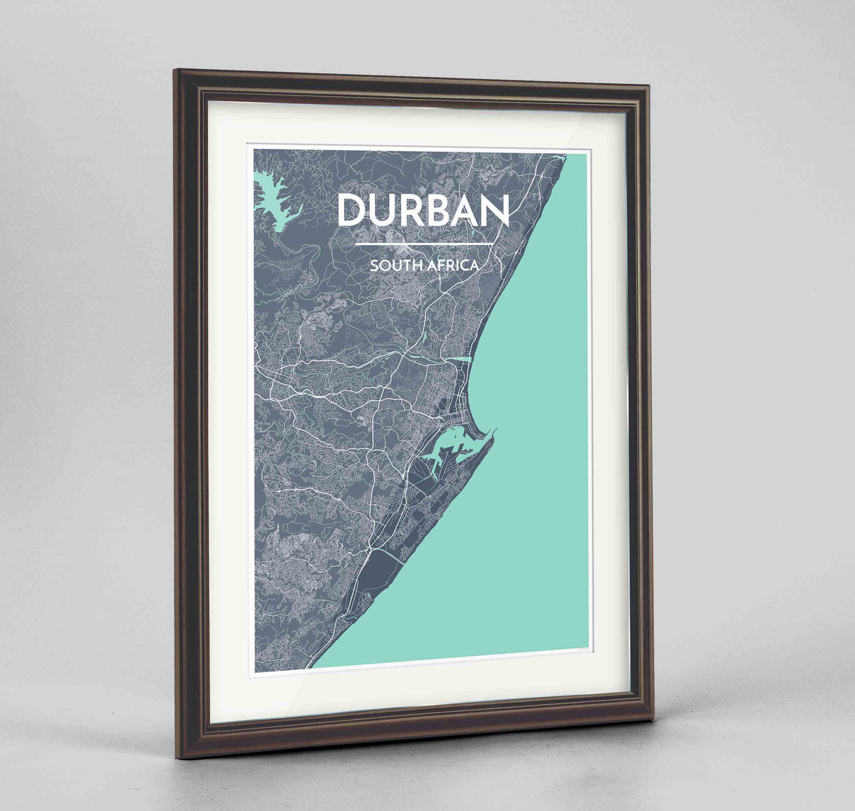 "Framed Durban Map Art Print 24x36"" Traditional Walnut frame Point Two Design Group"