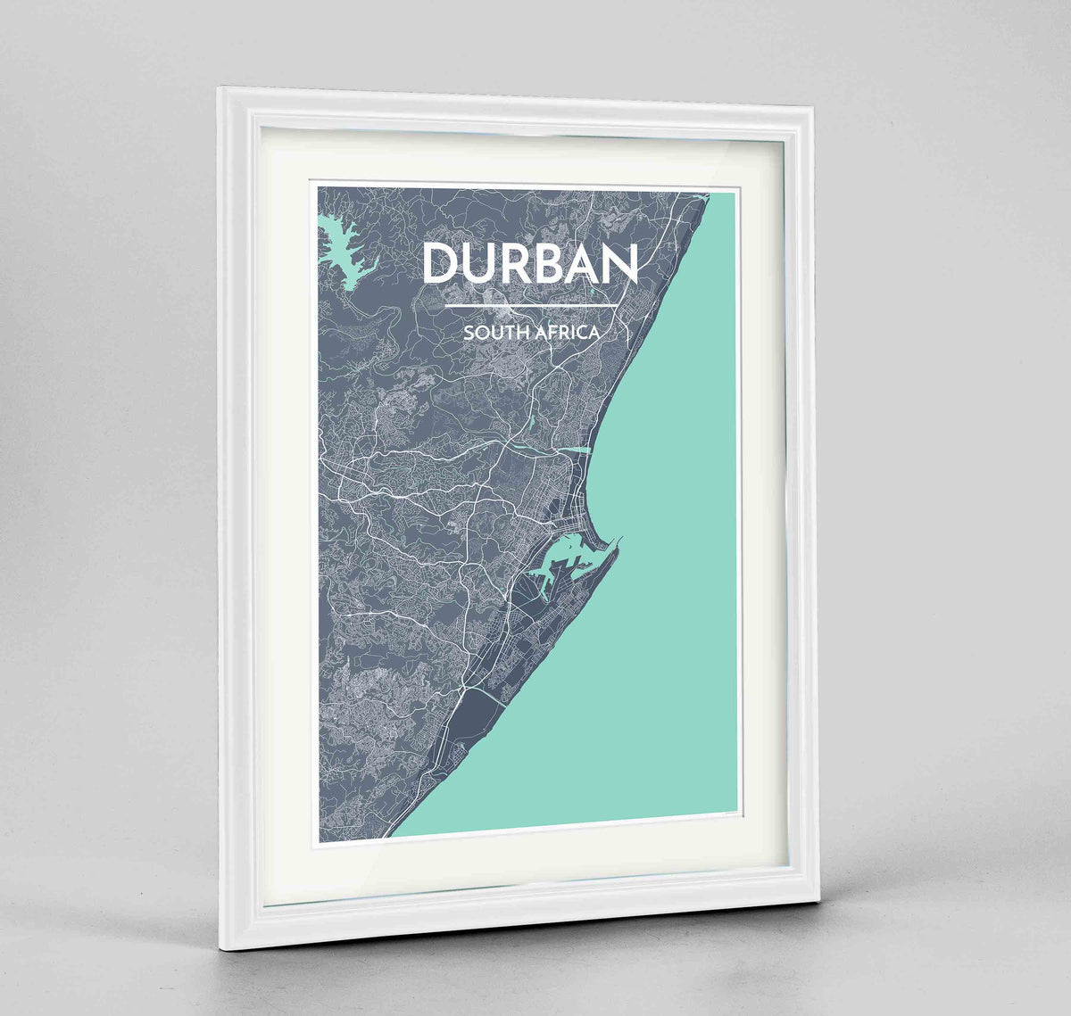 "Framed Durban Map Art Print 24x36"" Traditional White frame Point Two Design Group"