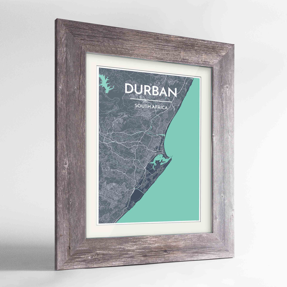 "Framed Durban Map Art Print 24x36"" Western Grey frame Point Two Design Group"