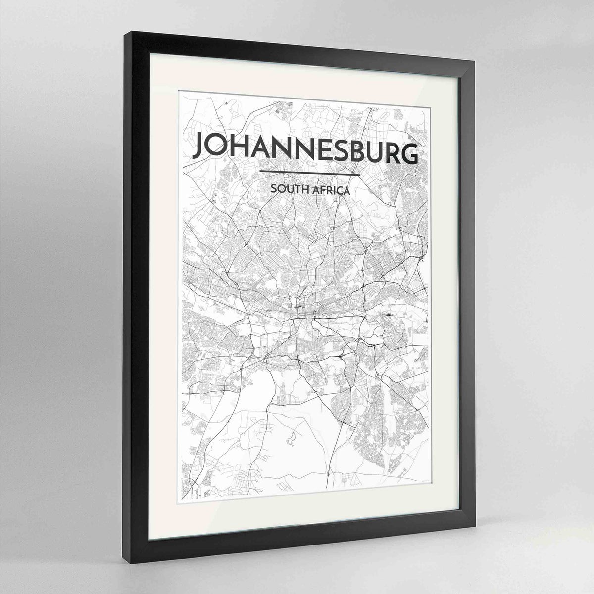 "Framed Johannesburg Map Art Print 24x36"" Contemporary Black frame Point Two Design Group"