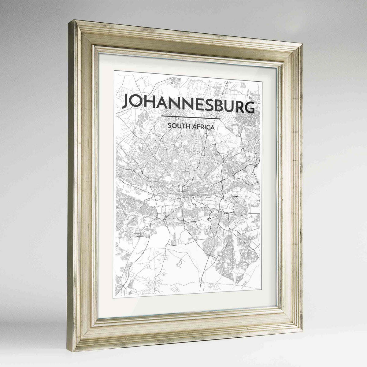 "Framed Johannesburg Map Art Print 24x36"" Champagne frame Point Two Design Group"