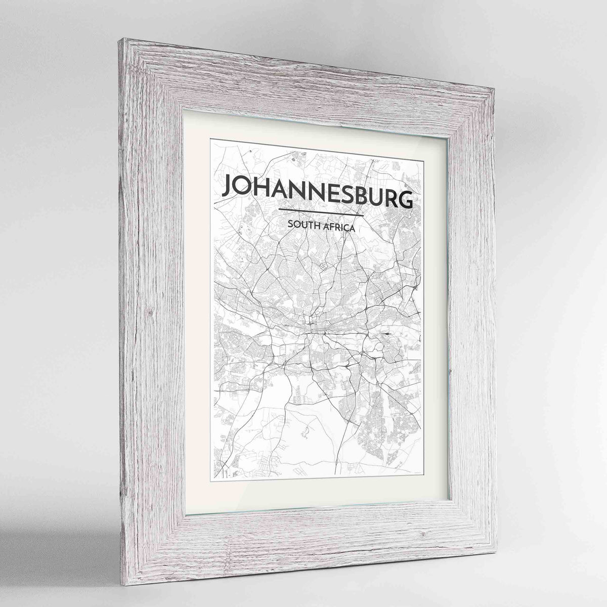 "Framed Johannesburg Map Art Print 24x36"" Western White frame Point Two Design Group"