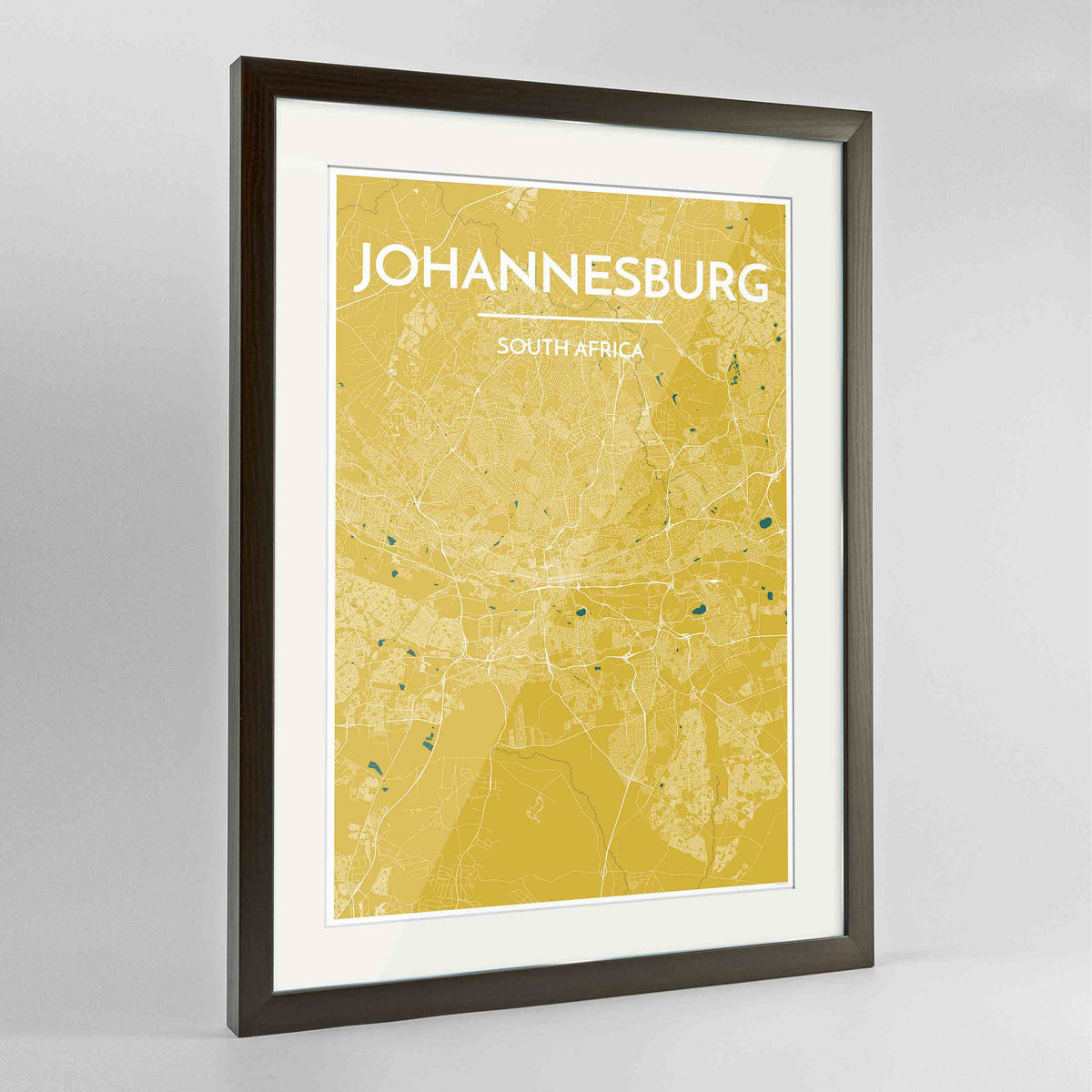 "Framed Johannesburg Map Art Print 24x36"" Contemporary Walnut frame Point Two Design Group"