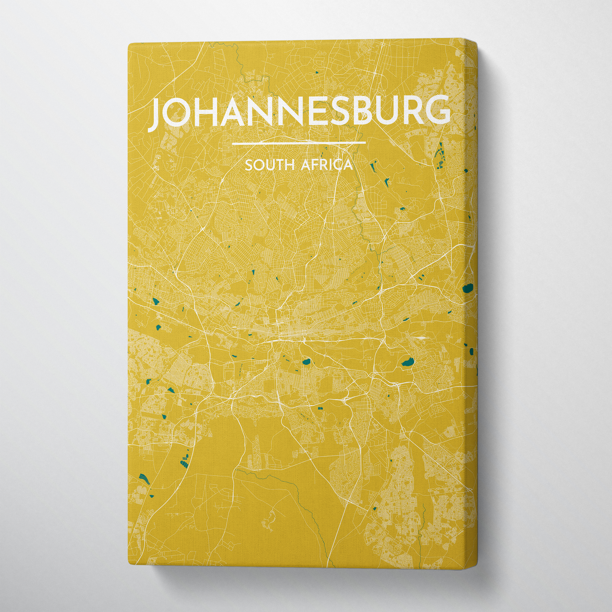 Johannesburg City Map Canvas Wrap - Point Two Design