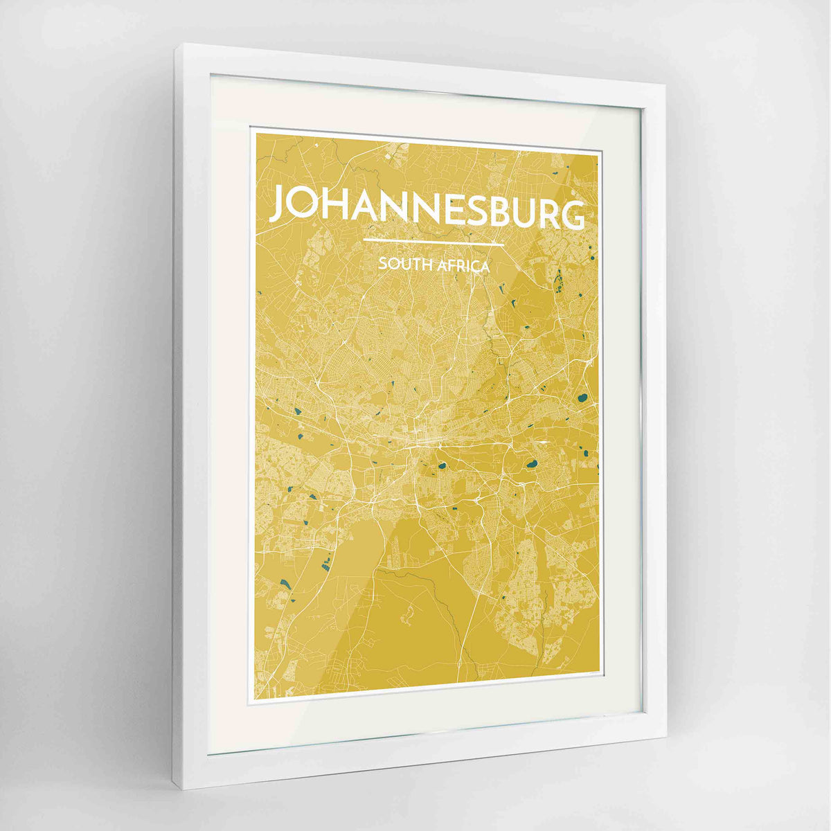 "Framed Johannesburg Map Art Print 24x36"" Contemporary White frame Point Two Design Group"