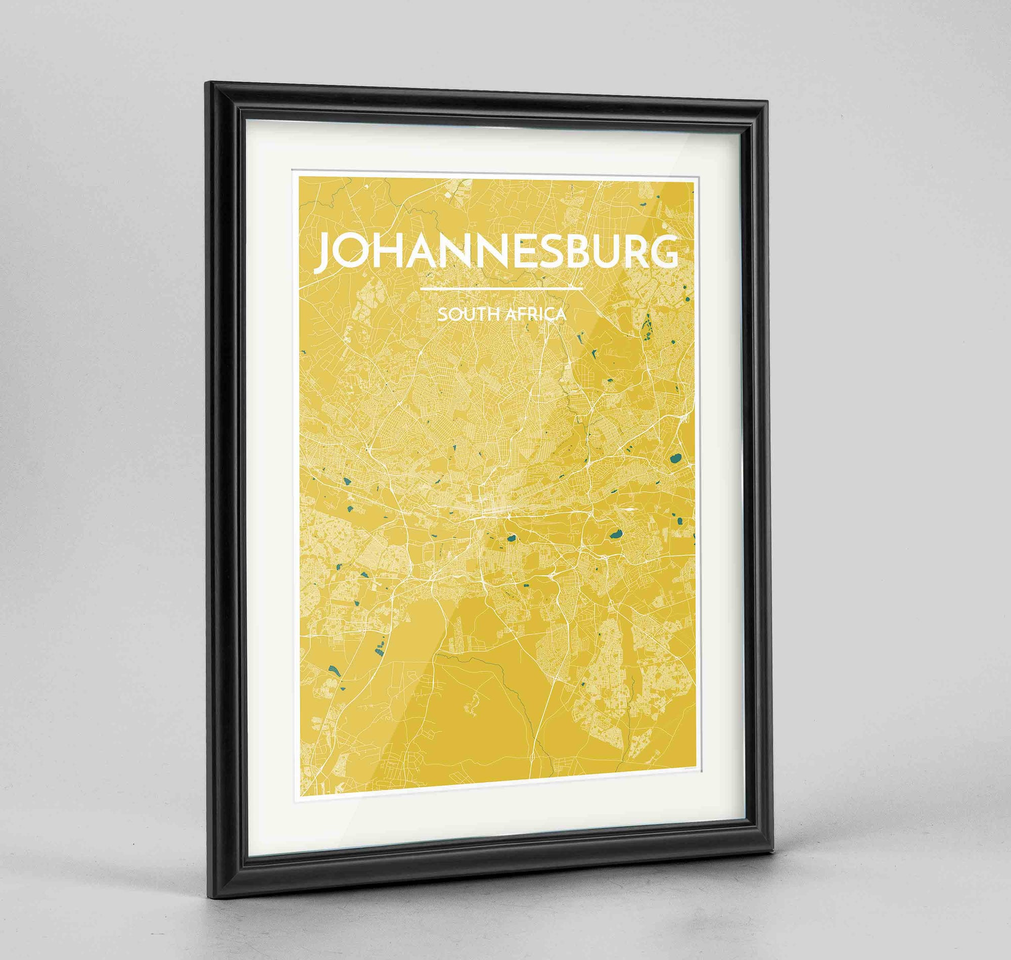 "Framed Johannesburg Map Art Print 24x36"" Traditional Black frame Point Two Design Group"
