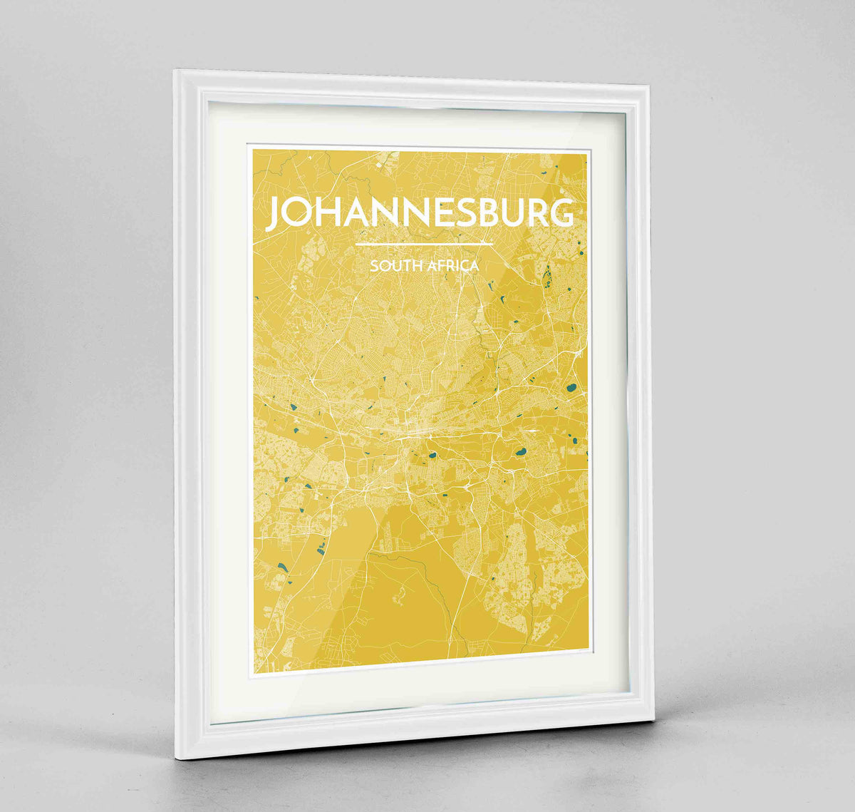 "Framed Johannesburg Map Art Print 24x36"" Traditional White frame Point Two Design Group"