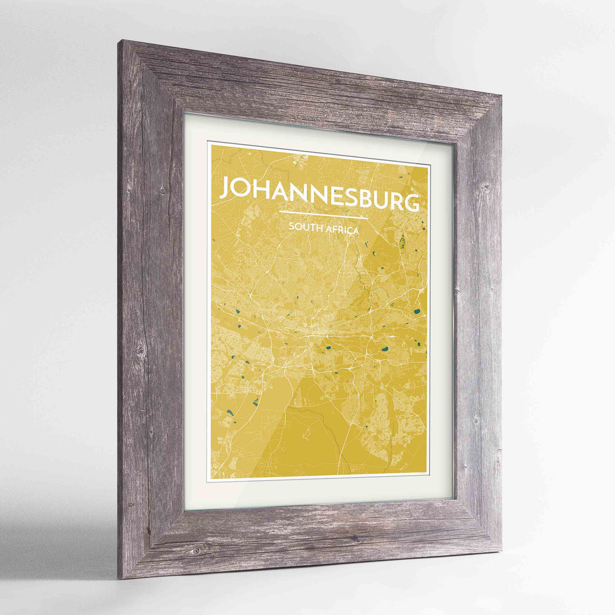 "Framed Johannesburg Map Art Print 24x36"" Western Grey frame Point Two Design Group"