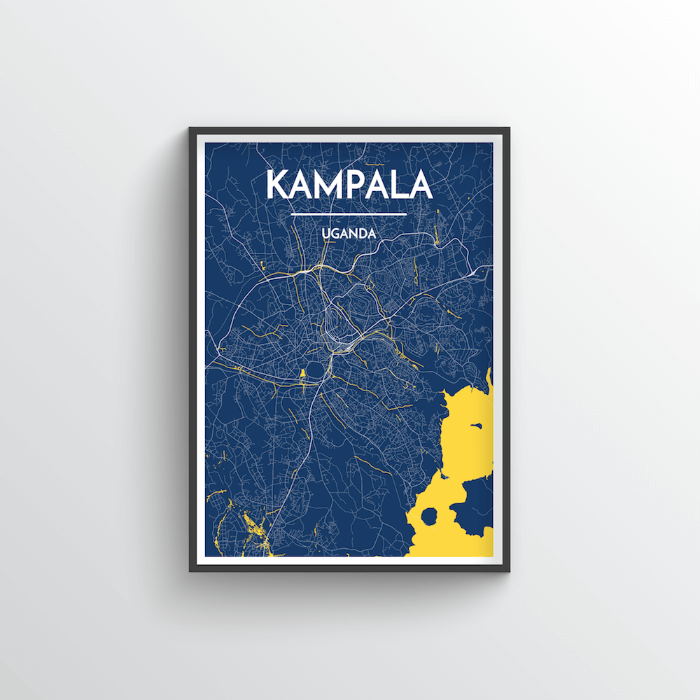 Kampala City Map Art Print - Point Two Design - Black & White Print