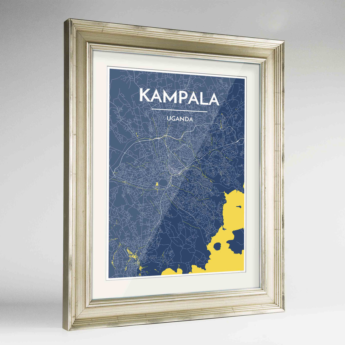 "Framed Kampala Map Art Print 24x36"" Champagne frame Point Two Design Group"
