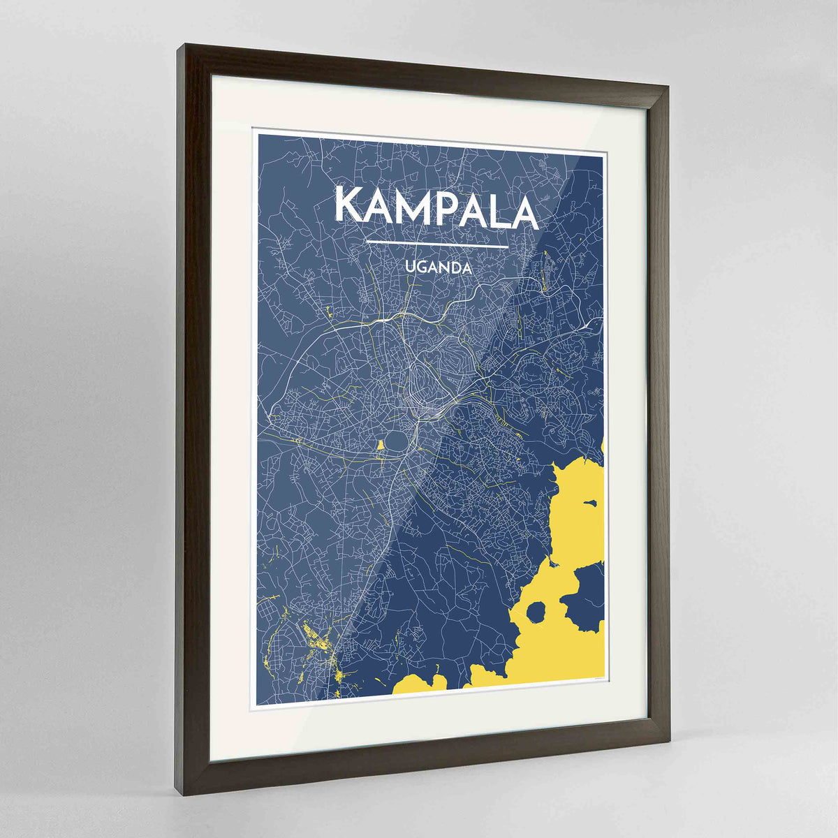 "Framed Kampala Map Art Print 24x36"" Contemporary Walnut frame Point Two Design Group"