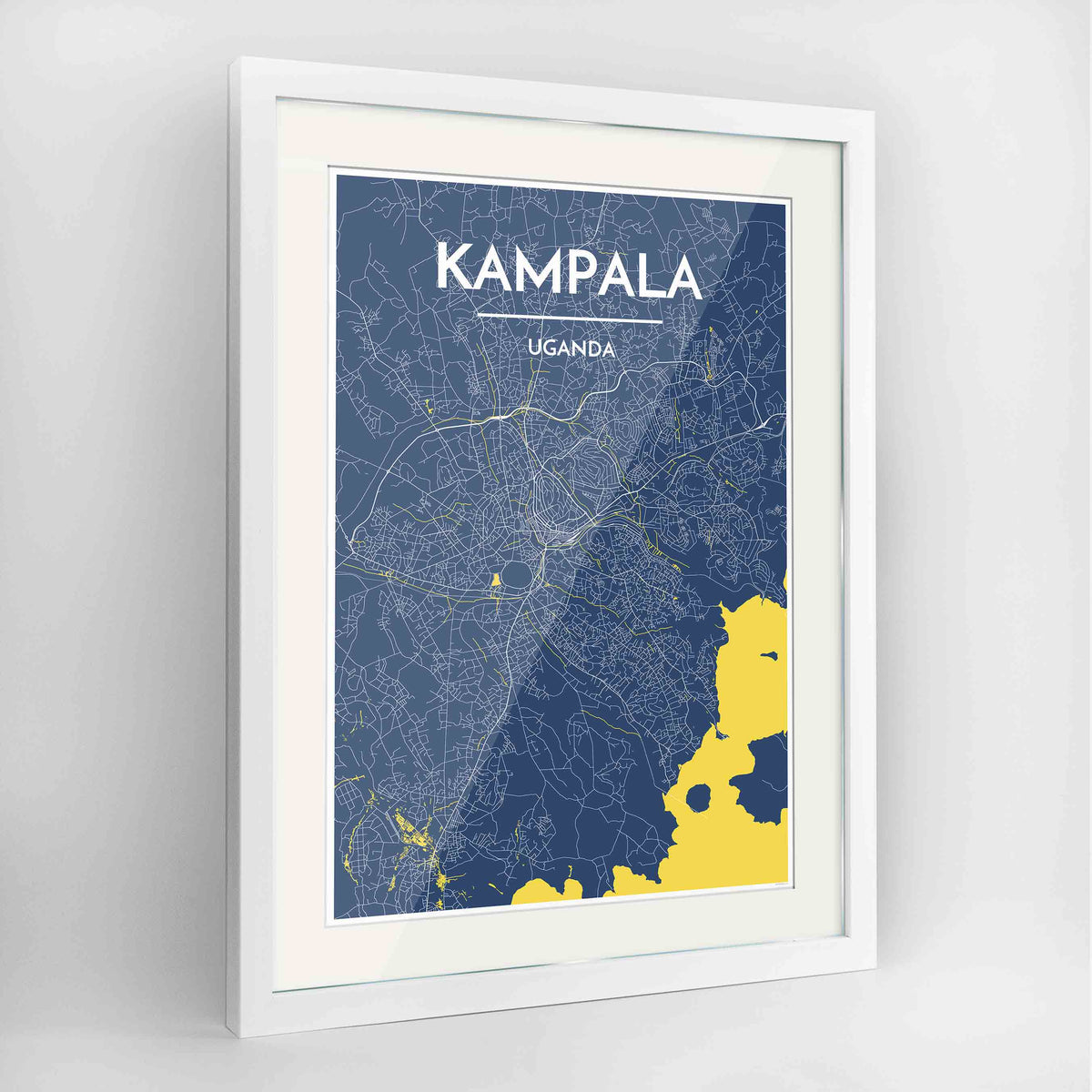 "Framed Kampala Map Art Print 24x36"" Contemporary White frame Point Two Design Group"